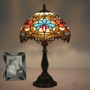Cardinal Patterned Stained Glass Night Lamp Tiffany 1-Light Gold Table Light for Bedroom