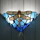 Tiffany Conical Flush Wall Sconce 2-Light Orange/Blue Glass Wall Mount Lamp with Dragonfly Pattern