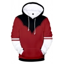 New Fashion Comic Cosplay 3D Colorblock Pullover Red Drawstring Hoodie