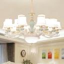 Light Blue 3/6/15 Heads Suspension Lamp Modern Cream Frosted Glass Flared Chandelier Light Fixture