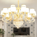 Tapered Shade Hanging Chandelier Modern Opal Glass 10/12/18 Bulbs Living Room Wall Mount Light in Gold