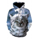 Fancy Mens Hoodie Cat 3D Print Front Pocket Long-sleeved Relaxed Fit Drawstring Hooded Sweatshirt