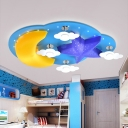 Moon and Star Ceiling Lamp Cartoon Wooden LED Blue Flush Mounted Light for Baby Room