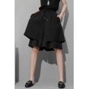 Popular Womens Shorts Bi-layered Drawstring Waist Wide-leg Shorts in Black