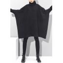 Dark Womens Black Dress Batwing Sleeve High Neck Short Oversize T Shirt Dress
