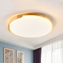 Circular Bathroom Flush Mount Light Wood Nordic Style LED Ceiling Fixture in White/Natural Light, Small/Medium/Large