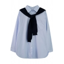 Fashionable Women's Shirt Blouse Solid Color Button-down Chest Pocket Point Collar Long-sleeved Regular Fitted Shirt Blouse with Knitted Scarf