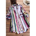 Retro Women's Shirt Stripe Pattern Color Block Chest Pocket Button Fly Long Sleeves Round Neck Regular Fitted Shirt
