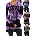 Trendy Dress Tie Dye Flower Print Long Sleeve Round Neck Short A-line Dress for Women