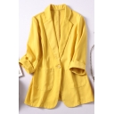 Formal Womens Blazer Roll Up Sleeve Notched Collar Button Front Relaxed Plain Blazer Top