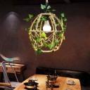 Elliptical Bistro Ceiling Hang Light Farmhouse Rope 1 Bulb Beige Drop Pendant with Decorative Ivy