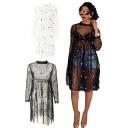 Designer Womens Plain Dress Sheer Mesh Embroidery Long Sleeve Crew Neck High Waist Short Pleated A-line Dress