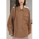 Fancy Women's Shirt Blouse Solid Color Flap Pocket Point Collar Long Sleeves Regular Fitted Shirt Blouse