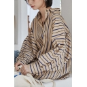 Leisure Women's Shirt Blouse Stripe Pattern Button Fly Turn-down Collar Long Sleeves Regular Fitted Shirt Blouse
