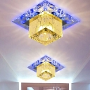 3/5w Clear Cube LED Flush Light Minimal Crystal Flush Mount Ceiling Light Fixture in Blue/7 Color Light/Fourth Gear