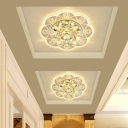 Scalloped Clear Crystal Flushmount Modernism 3/5w LED Silver Flush Mount Ceiling Light in Warm/Pink/Multi-Color Light
