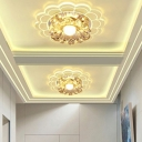 9/11w Scalloped LED Ceiling Lighting Modern Crystal Clear Flush Mount Fixture in Warm/White/Blue Light