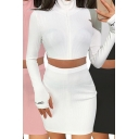 Stylish Womens Set Letter Embroidery Ribbed Glove Sleeve Stand Collar Zip Up Fit Crop Tee & Mini Skirt Co-ords