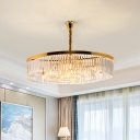 4/8/12 Bulbs Dining Room Chandelier Postmodern Black/Gold Pendant Light with Round Cut Crystal Shade, 19.5