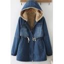 Leisure Women's Denim Jacket Solid Color Side Pocket Flap Pocket Banded Cuffs Long Sleeves Brushded Fleece Lined Hooded Jacket