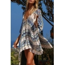 Vintage Womens Dress Wavy Line Pattern Lace-up Front Open-Knit Deep V Neck Half Batwing Sleeve Regular Fitted Short Beach Cover up Dress