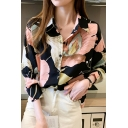 Stylish Women's Shirt Blouse Leaf Floral Pattern Button Closure Turn-down Collar Long Sleeves Relaxed Fit Shirt Blouse