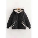 Casual Women's Down Coat Quilted Letter Pattern Side Pockets Long Sleeves Zip Placket Relaxed Fit Hooded Down Coat