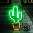 Potted Cactus USB Plug-in Night Lamp Kids Plastic Bedroom LED Wall Hanging Night Light in White