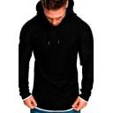 Retro Mens Hoodie Heathered Solid Color Label Patchwork Asymmetrical Hem Long-sleeved Regular Fitted Hooded Sweatshirt
