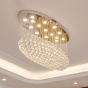 Crystal Orb Stainless Steel Ceiling Fixture Oval 20 Lights Modern Style Flush Mount Lighting