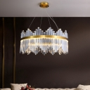 Gold LED Pendant Light Fixture Postmodern Prismatic Crystal Round Hanging Chandelier with Wavy Edge, 15.5