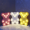 Cartoon Mini Bear Night Light Plastic Childrens Bedroom LED Wall Night Lighting in Pink/Blue/Yellow
