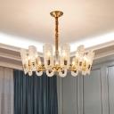 14/16-Bulb Textured Glass Oval Chandelier Postmodern Brass Radial Living Room Pendant Light Fixture