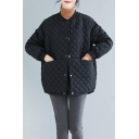 Basic Women's Coat Quilted Detail Solid Color Ribbed Trim Invisible Pockets Button-down Long Sleeves Stand Collar Regular Fitted Coat