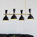 Funnel Kitchen Bar Island Pendant Metal 4 Lights Modern Adjustable Hanging Lamp in Black/White