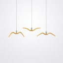 Pink/Yellow Seagull Pendant Light Fixture Macaron Metal LED Ceiling Hang Lamp for Dining Room