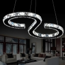 S Shaped/Loving Heart/Circle Pendant Lamp Simple Beveled Crystal Clear LED Hanging Chandelier for Bedroom