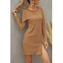 Womens Dainty Ribbed Long Sleeve Crew Neck Metal Button Side Plain Short A-line Dress