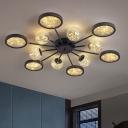 Burst Round and Ball Flushmount Modern Amber Glass 6/8/12 Lights Black Ceiling Lamp with Starry Light Strip Inside