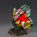 Single-Bulb Nightstand Lamp Tiffany Butterfly Blue Glass Table Light for Bedside