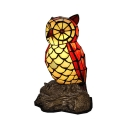 Red Owl Night Stand Lamp Tiffany 1-Light Handcrafted Stained Glass Table Light for Bedroom