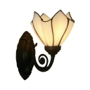 Up/Down Ruffle Shade Wall Light Single White/Pink/Purple Glass Tiffany Style Sconce Lamp for Bedside