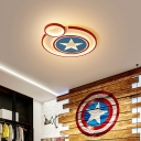 Small/Large Circular Flush Mount Lamp Kids Metal Bedroom LED Ceiling Light with Star Pattern in White