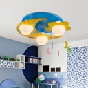 Moon and Flower Flush Light Kids Hand-Blown Cream Glass 3-Head Blue Ceiling Mounted Lamp