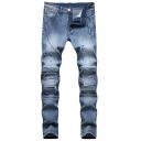 New Fashion Solid Color Men's Pleated Slim Fit Biker Jeans