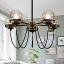 Mid-Century Sphere Chandelier Amber Glass 5-Head Living Room Pendant Lighting with Swoop Arm in Bronze/Black