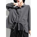 Womens Street Shirt Solid Color Long Sleeve Turn-down Collar Button-up Drawstring Asymmetric Hem Loose Shirt