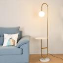 Ball Living Room Reading Floor Light Milk Glass 1-Light Postmodern Gooseneck Floor Lamp in Black/Gold/Marble with Tray