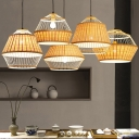 Rattan Conical Hanging Light Fixture Japanese Style 1-Light Wood Ceiling Suspension Lamp