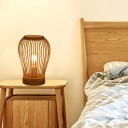 Cylinder/Pear Shaped/Ellipse Night Lamp Chinese Style Bamboo Single-Bulb Wood Table Light for Bedroom